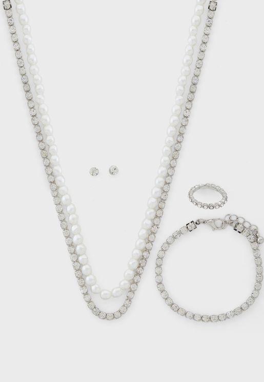 Pearl & Diamante Neck,Earring,Bracelet & Ring Set
