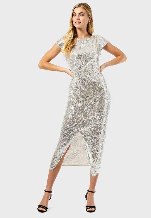 Sequin Twist Maxi Dress