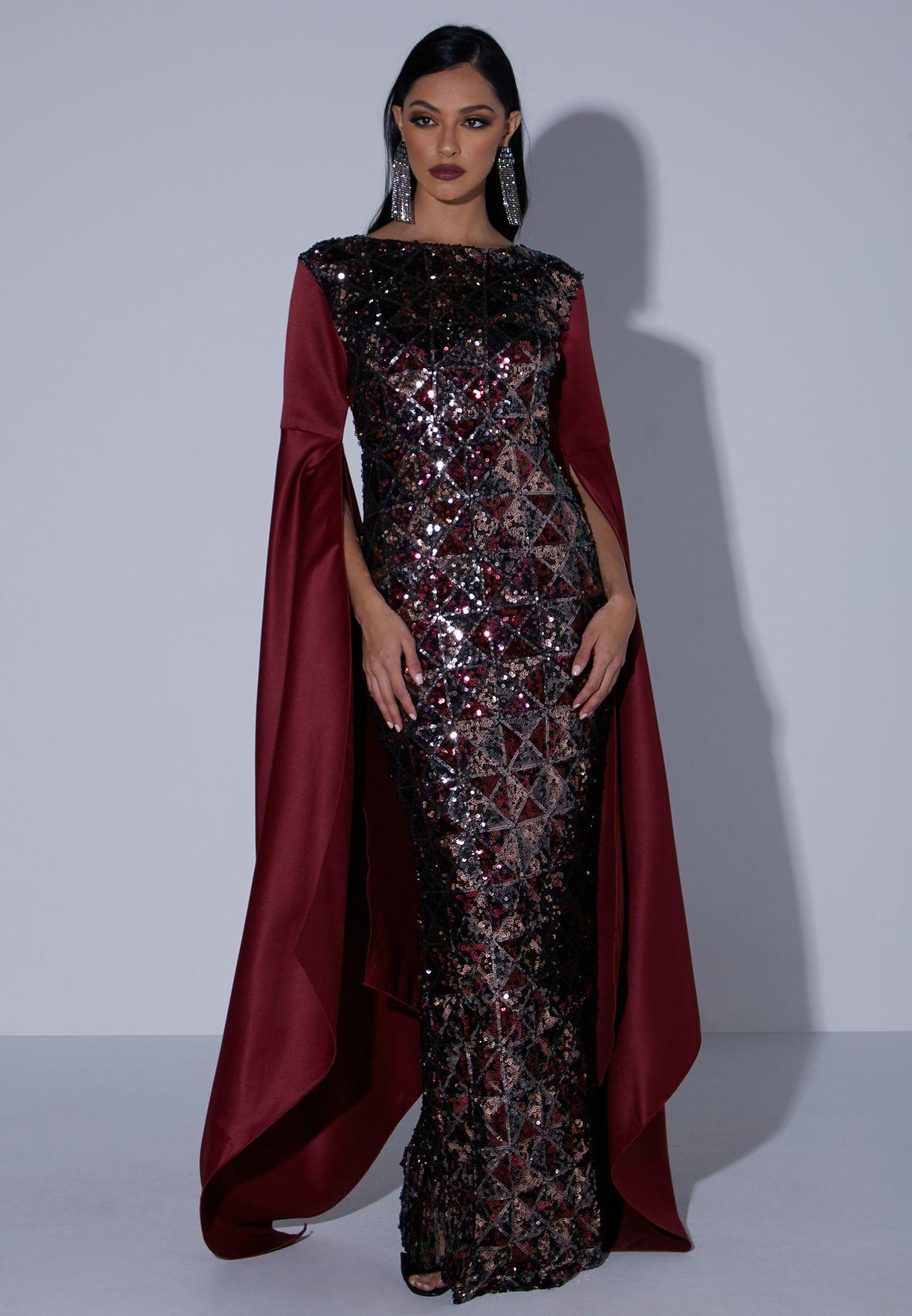 Cape Sleeve Sequin Dress