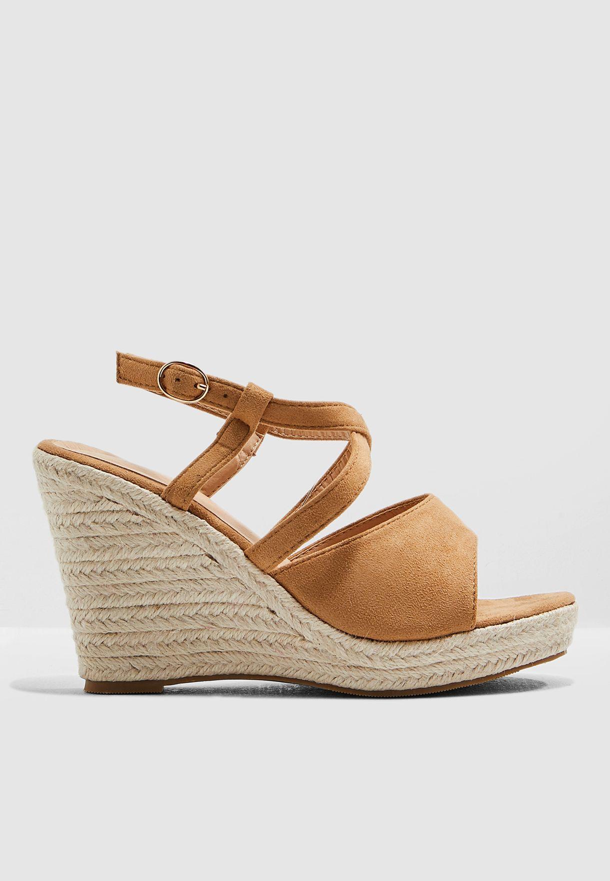 Cross Front Wedge Sandal
