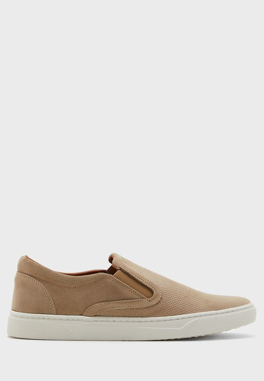 Genuine Suede Perforated Slip Ons