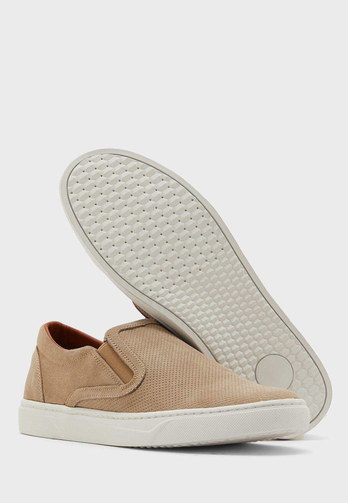 Genuine Suede Perforated Slip Ons