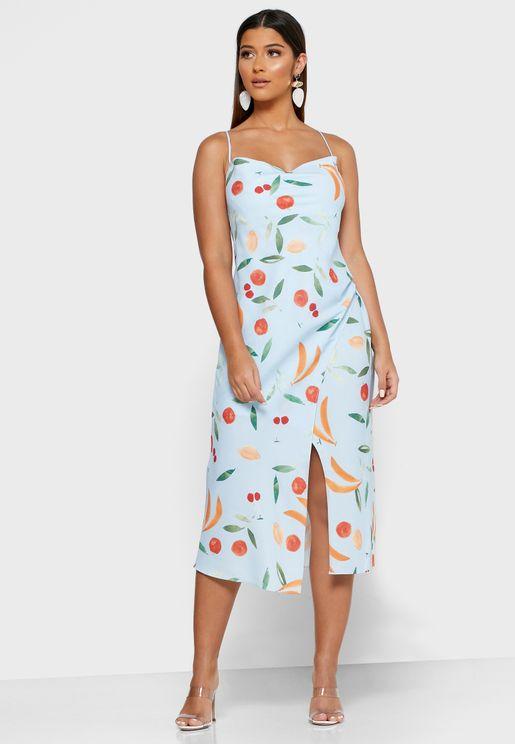 فستان بحمالات اكتاف مزين بطبعات