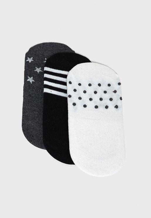 3 Pack Stripe Star Invisible Socks