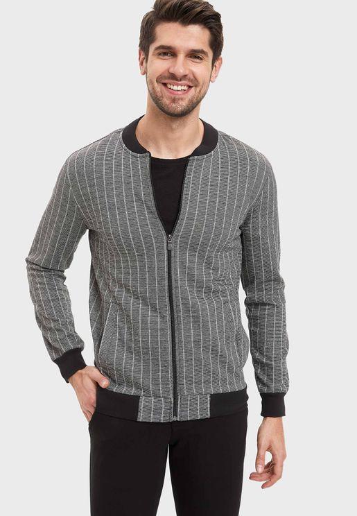 Striped Zip Through Sweatshirt