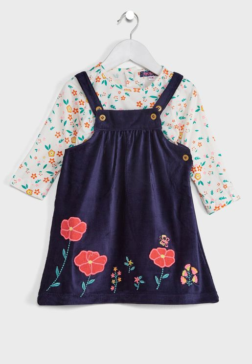 Corduroy Floral Applique Pure Pinafore Dress With Tshirt