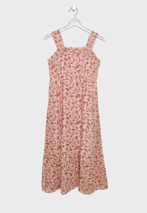 Kids Floral Print Maxi Dress