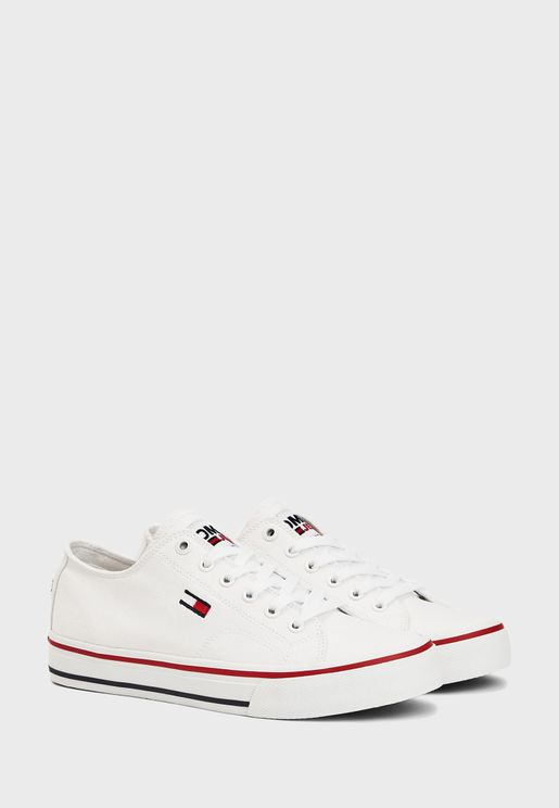 Long Lace Up Low Top Sneaker