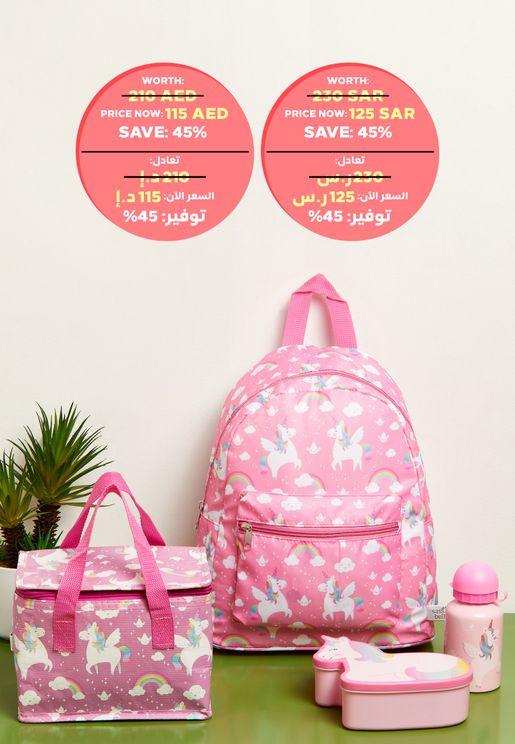 Rainbow Unicorn Back To School Bundle Set Worth 210 AED / 230 SAR