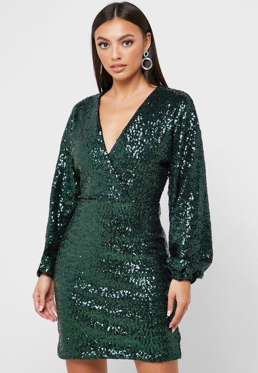 Back Keyhole Shimmer Dress