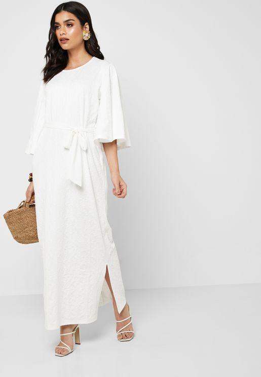 Bell Sleeve Side Slit Dress