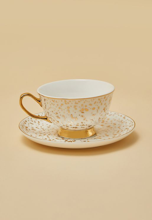 Gold Patterned Teacup With Saucer