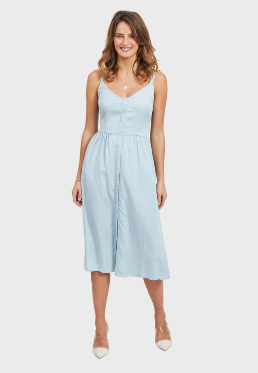 Cami Strap Denim Dress
