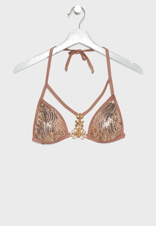 Halter Neck Shimmer Bikini Top
