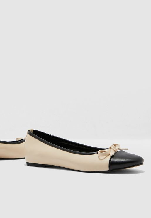 Colorblock Knotted Ballerina - Beige