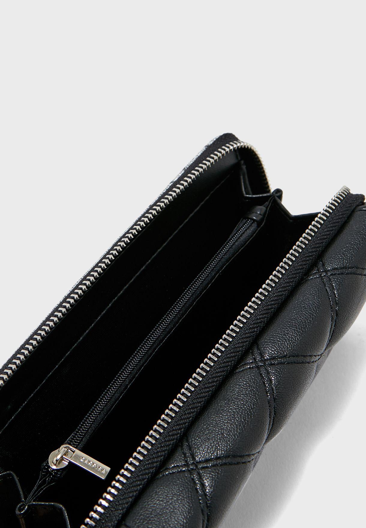 Sequin Flap Over Multi Pocket Purse
