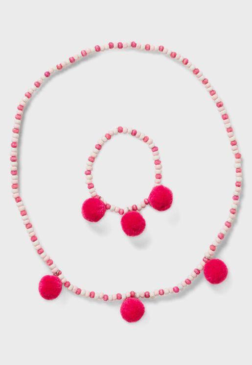 Kids Beaded Necklace + Bracelet Set