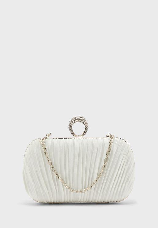 Jewelled Clasp Pleated Satin Clutch Bag