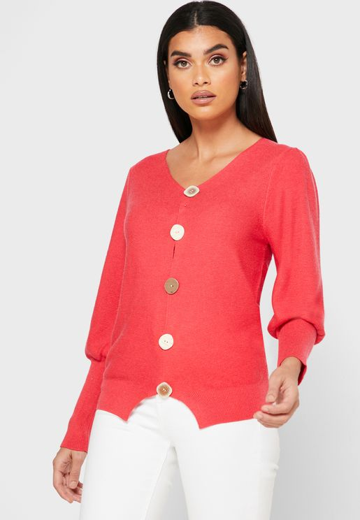 Puffed Sleeve Button Down Cardigan