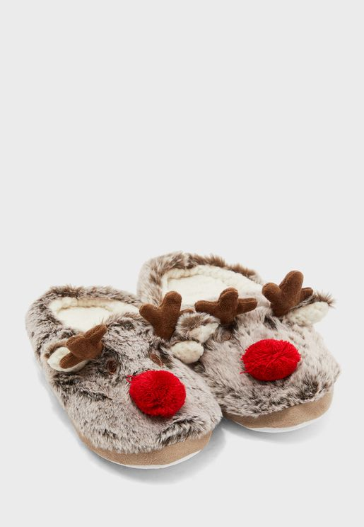 Plush Faux Fur Rudolf Slippers