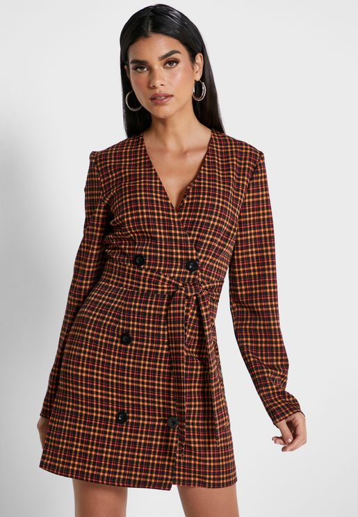 Honors Double Breasted Checked Dress