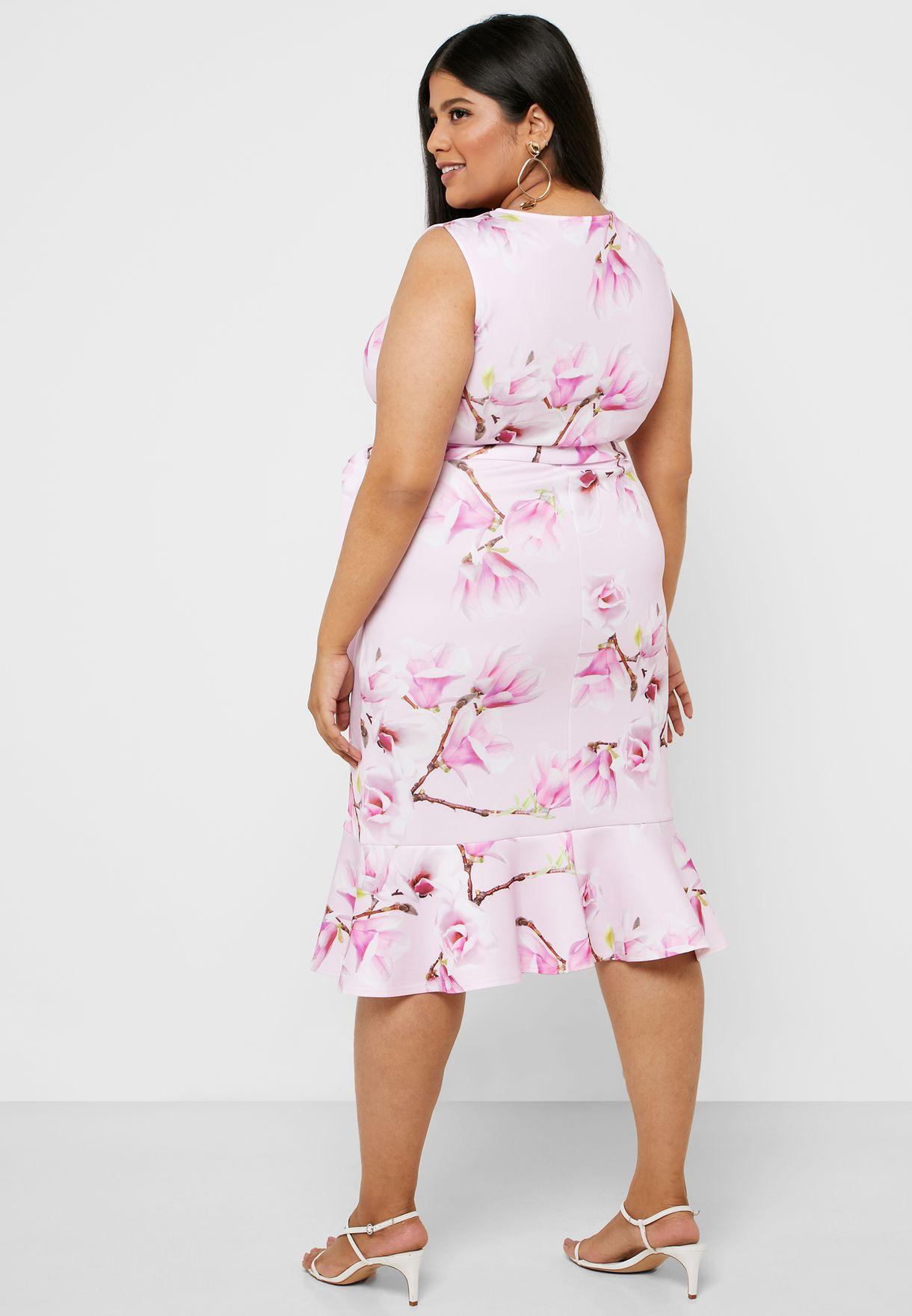 Floral Print Tie Waist Wrap Dress