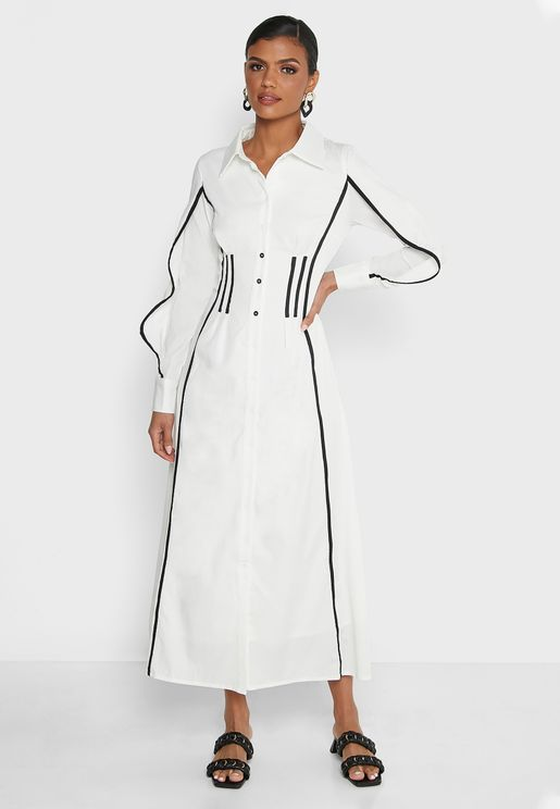 Contrast Piping Detail Dress
