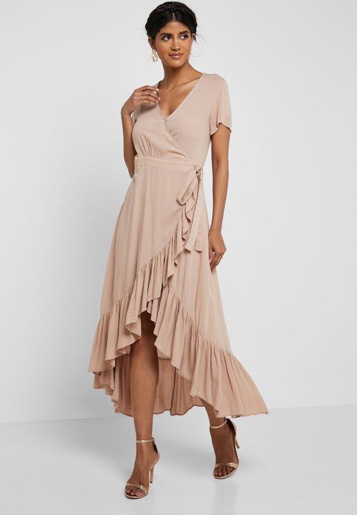 Ruffle Hem Wrap Dress