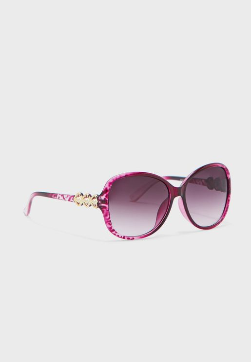 Textured Frame Oversized Sunglasses With Gold Arm Detail