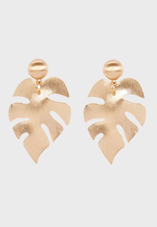 Leaf Detail Drop Earring