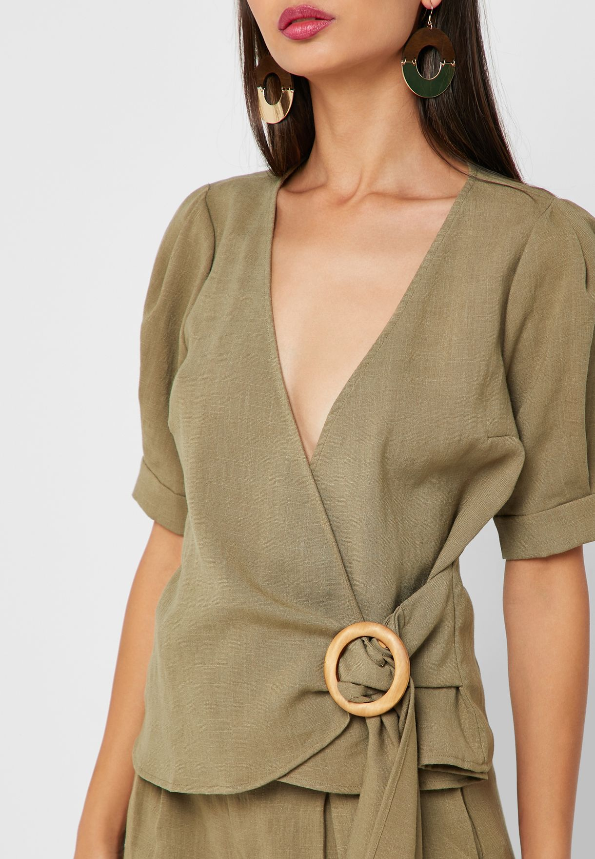 Ring Detail Linen Wrap Top