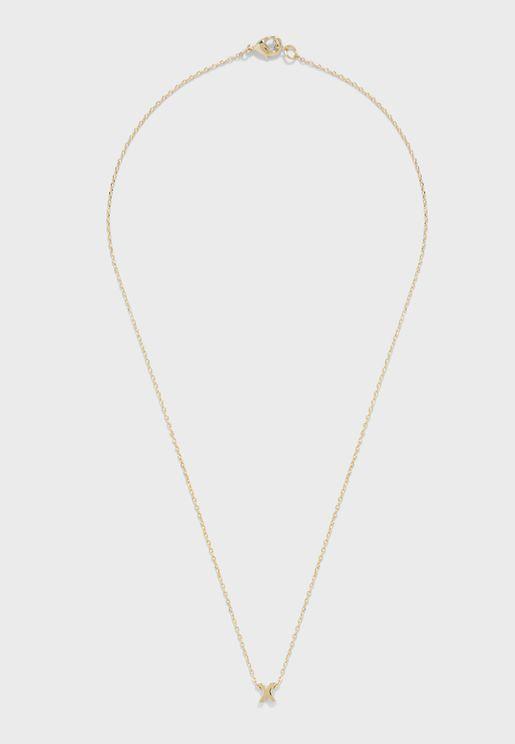 Initial X Mint Necklace