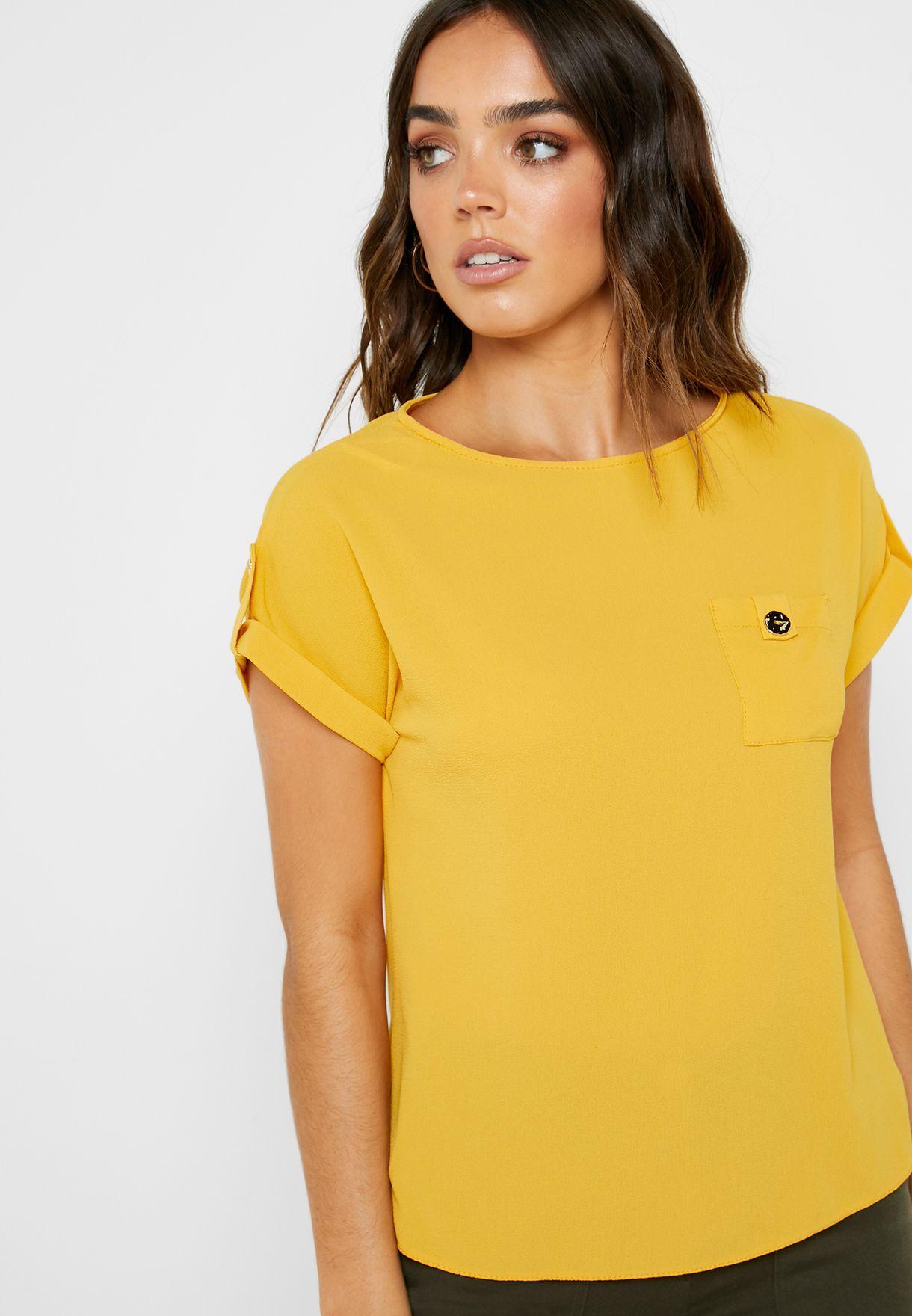 Pocket Detail Roll Sleeve T-Shirt