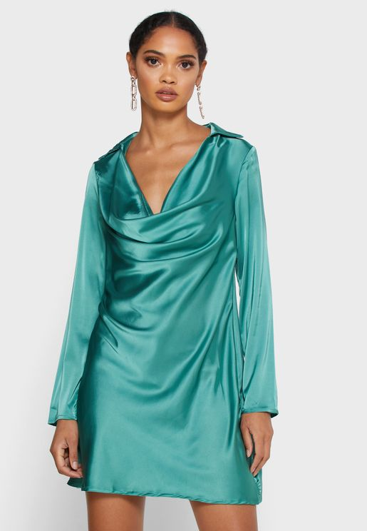 Satin Cowl Neck Detail Dress