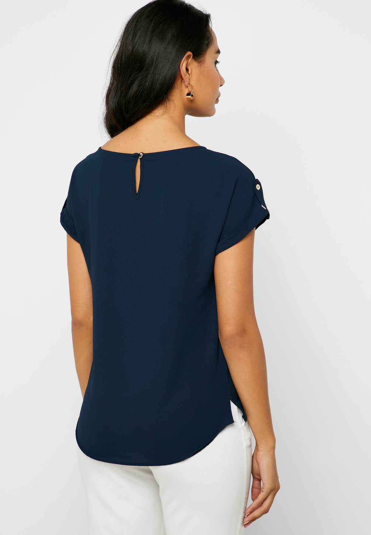 Roll Sleeve Pocket Detail Top