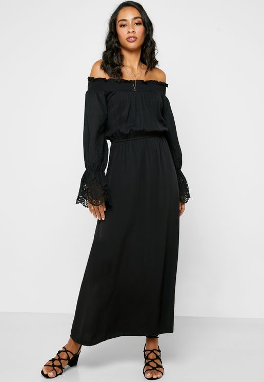 Ruffle Bardot Maxi Dress