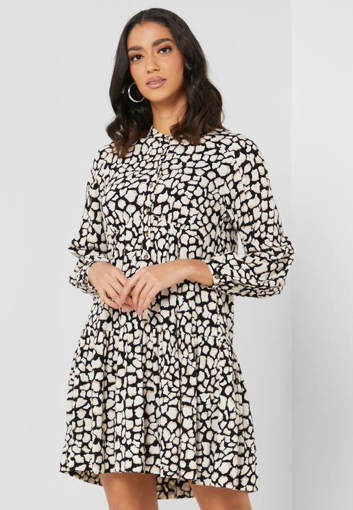 Lace Up Detail Giraffe Print Dress