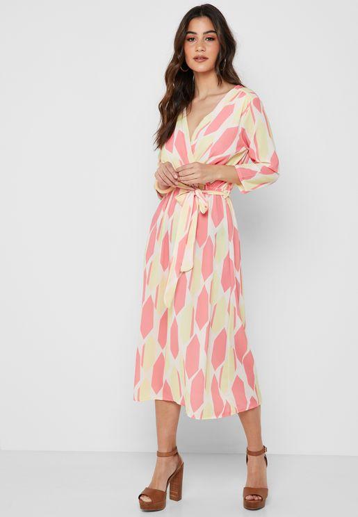 فستان ميدي بنمط لف مع طبعات
