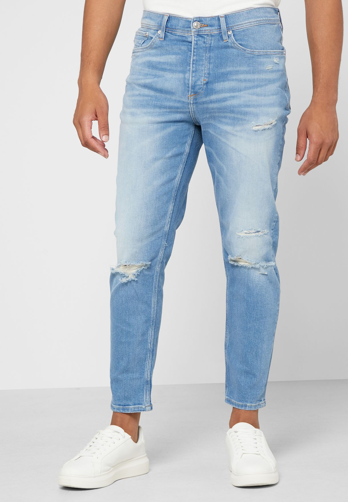 Light Wash Tapered Jeans
