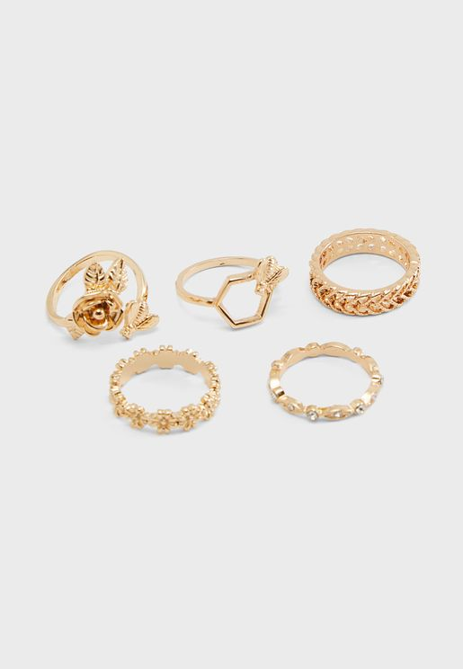 Assorted Smooth & Textured Ring Set