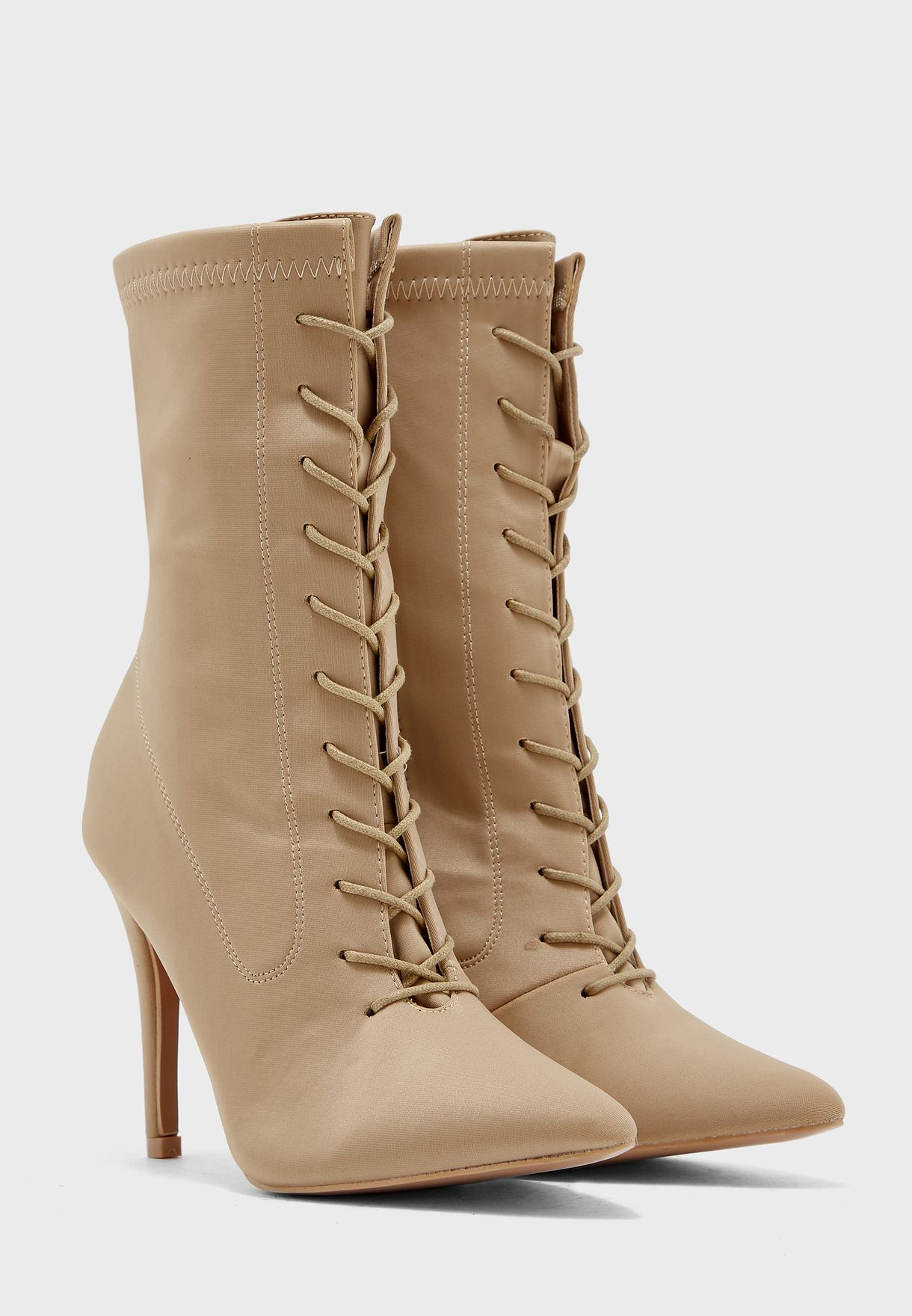 Lace Up Lycra Pointed Toe Ankle Boot