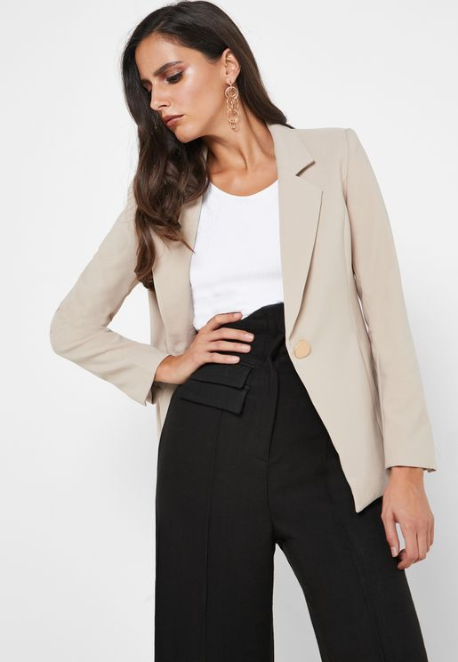 Button Front Pocket Blazer