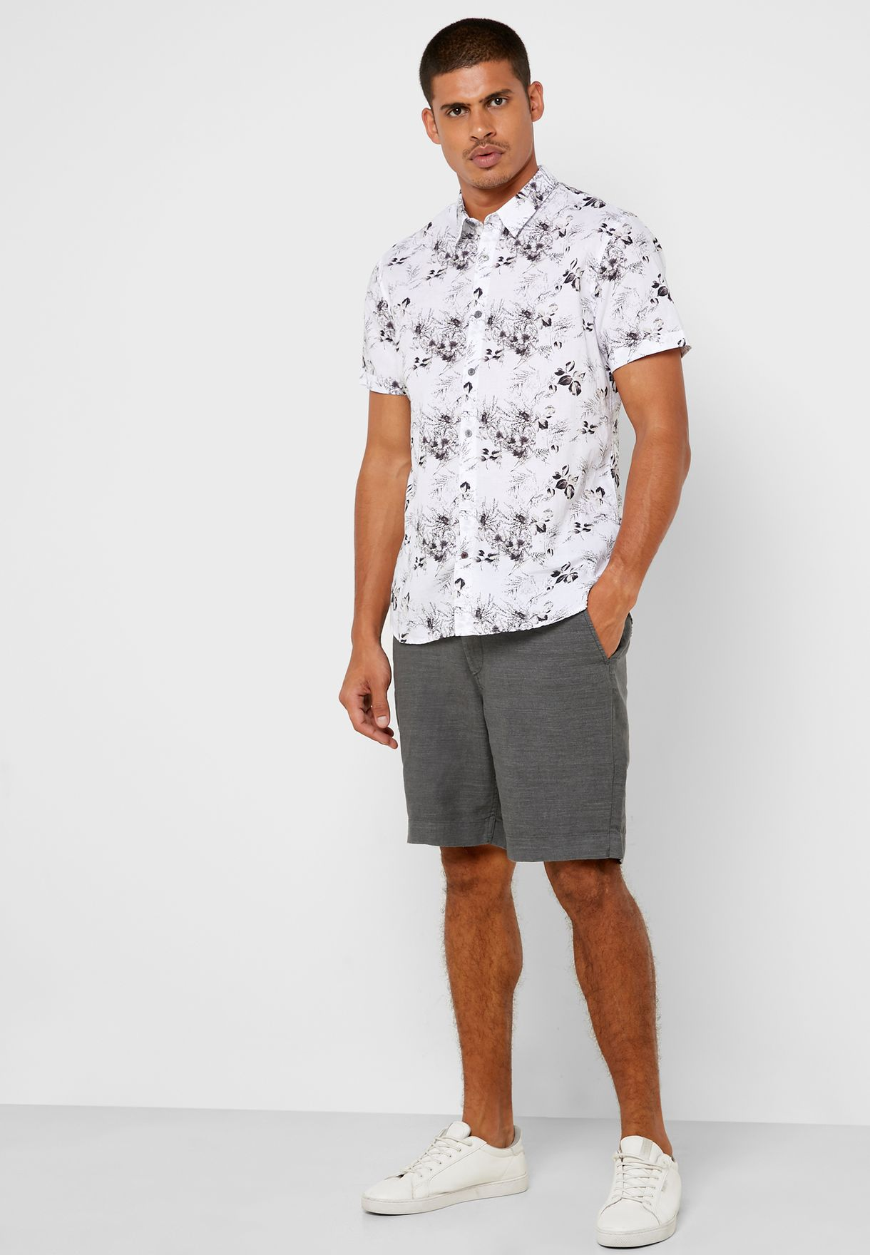 Jasper Leaf Print Slim Fit Shirt