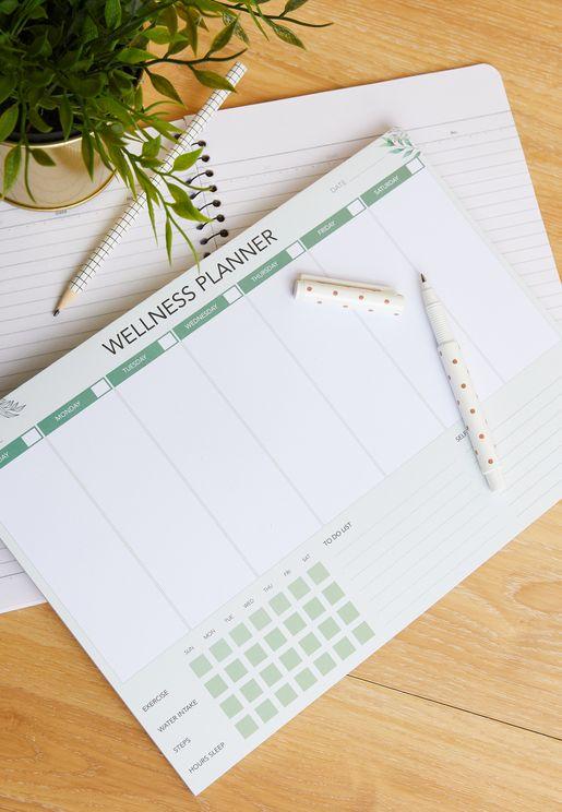 A4 Green English Wellness Planner