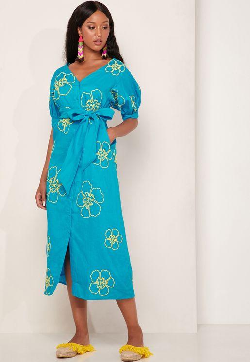Kaleo Embroidered Tie Waist Dress