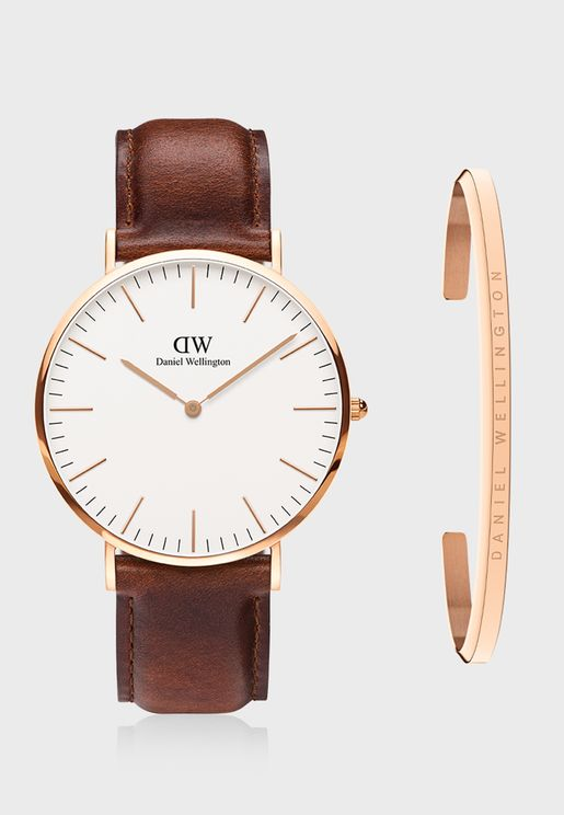 Mawes Analog Watch & Cuff Bracelet Set
