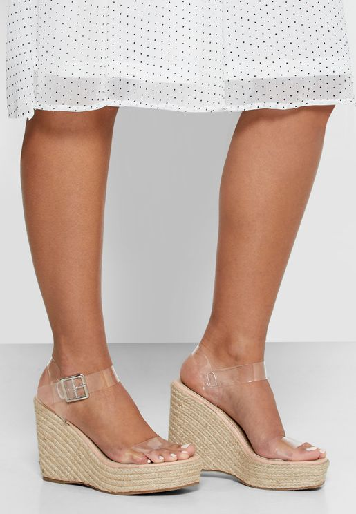 Clear Strap Square Toe Wedge Sandals