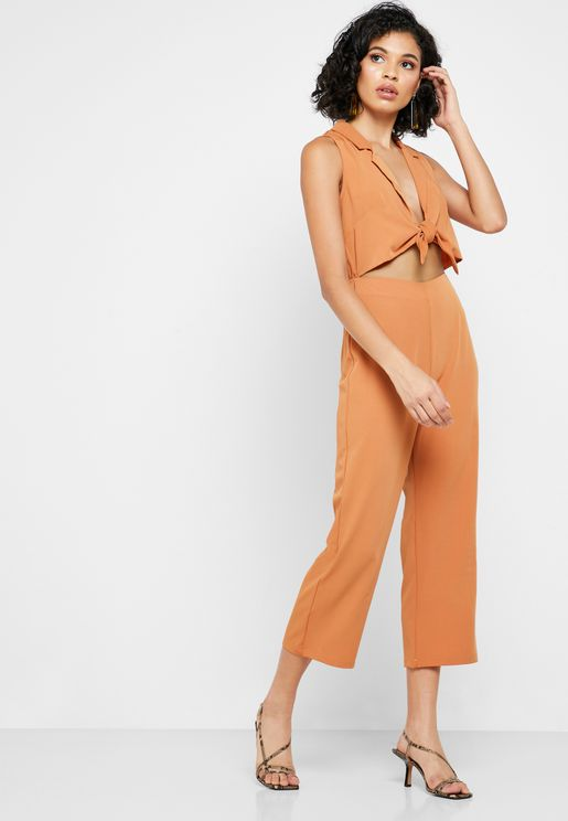 Front Twisted Cropped Leg Jumpsuit