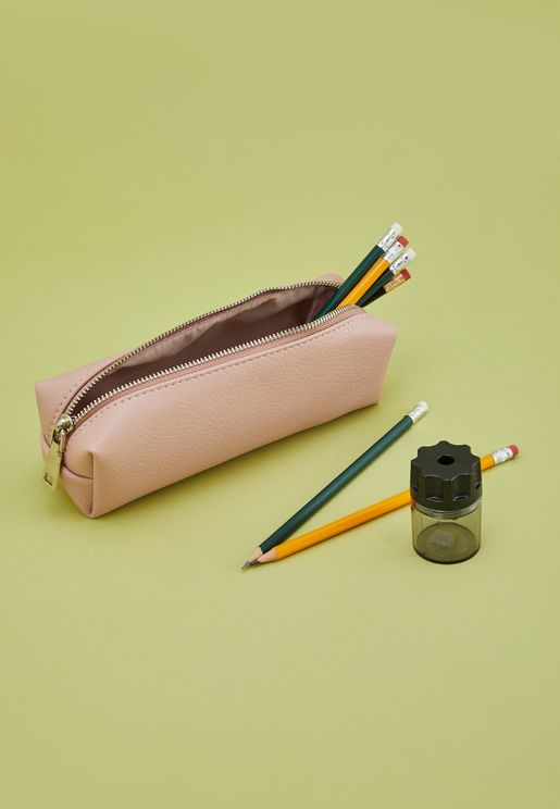 Pink Leatherette Pencil Case