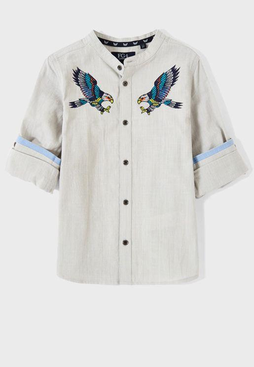 قميص بطبعات طيور